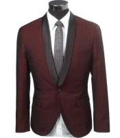 SD295 Mens Burgundy Slim Fit 1 Button Two Toned
