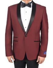 AP640 Mens Burgundy 1 Button Single Breasted Tuxedo Solid