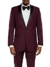 JS305 Mens Slim Fit Burgundy ~ Maroon Tuxedo