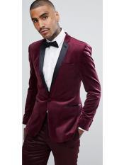 JS312 Mens Slim Fit Burgundy ~ Maroon Tuxedo