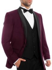 JS313 Mens Slim Fit Burgundy ~ Maroon Tuxedo