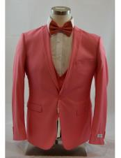 CH2241 Mens 1 Button Peak Lapel Vested Coral suit