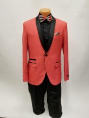 JS379 Mens One Button Shawl Lapel Coral Prom Wedding