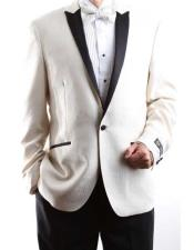 JSM-1048 Mens 1 Button Cream Single Breasted 150s Satin
