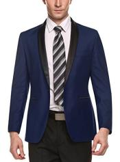 SM4991 Mens Dark Blue Shawl Lapel 1 Button Slim