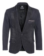 GD1533 Perruzo Denim Black Blazer Slim Fit Sport Jacket
