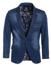 GD1534 Perruzo Denim Blazer Slim Fit Navy Sport Jacket