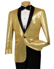 GD1205 Mens Sequin Gold Single Breasted 1 Button Side