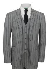 SM5174 Grey and Black Stripe Vested Suit