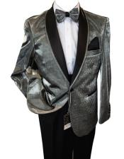 mensUniqueShinyFashionPromBlackandSilverSuit