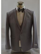 CH2242 Mens Grey 1 Button Peak Lapel Vested suit