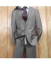 JSM-5626 Mens 1 button style Grey Peak Lapel Vested