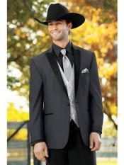 JS328 Mens Western Suit & Tuxedo Dark Grey