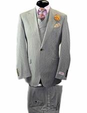 JSM-1827 Mens Tiglio 1 Button Peak Lapel Wool Pinstriped