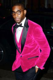 Hot Pink Mens Cheap Velvet