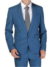 Product#JSM-1897MensTealSuit1ButtonNotchLapelSingle