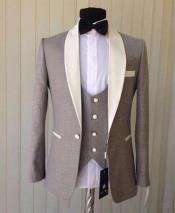 GD1816 Mens Light Gray Single Breasted 1 Button Shawl