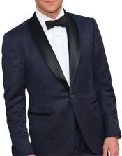 GD1587 Mens Single Breasted 1 Button Navy Blue Tuxedo