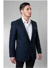 JSM-2257 1 Button Single Breasted Notch Lapel Pattern Jacket
