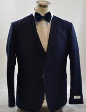 CH2243 Mens 1 Button Peak Lapel Vested navy suit