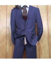 JSM-5631 Mens Navy 1 button style Peak Lapel Vested