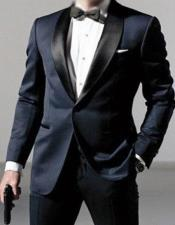 CH1900 Men's Satin Shawl Lapel Wool Blend navy tuxedo