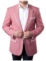 JS416 Mens 1 Button Rose Pink Tuxedo Summer Blazer