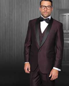 AC-299 One Button Classic Three Piece Burgundy ~ maroon