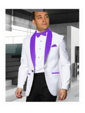 JSM-2178 Mens 1 Button Shawl Lapel White Tuxedo with
