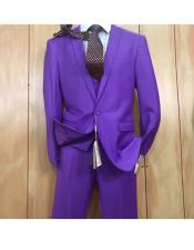 JSM-5634 Mens Purple 1 button style Peak Lapel Vested