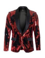 Product#CH2083mensRed~Blackhighfashionsequinblazer