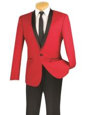 JSM-5983 Mens One Button red and black lapel 2