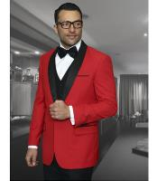 JSM-1122 Mens 1 Button Red Shawl Collar Dinner Jacket