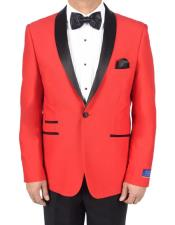 AP639 Mens Red 1 Button Viscose Blend Tuxedo Solid