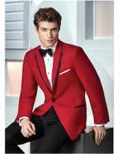 GD1388 Mens Single Breasted 1 Button Red Slim Fit