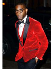 mens Hot Red Velvet Tuxedo