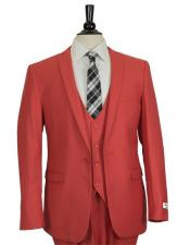 GD1676 Mens Red Slim Fit Single Breasted 1 Button