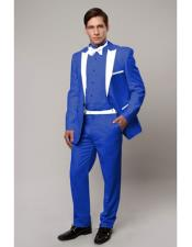 CH1993 Slim Tux Royal Blue with white lapel