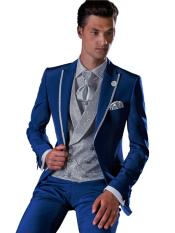 JS342 Mens One Button Royal Blue Wool Suit With