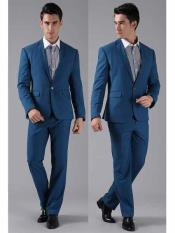JSM-199 Mens 1 Button Royal Blue Suit For Men