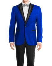 mens Royal Blue One Button