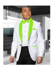 JSM-2175 Mens 1 Button Shawl Lapel White Tuxedo with