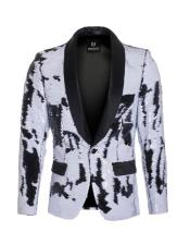 mens high fashion sequin White