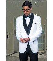 1 Button White Shawl Collar
