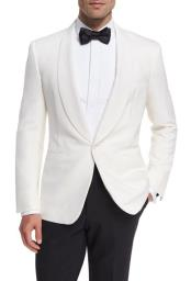 SM4914 Mens Wool 1 Button Shawl Lapel White Dinner