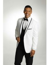 CH2356 Mens One Button Tuxedo Trimmed Shawl Lapel white
