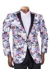 White/Multi Floral Print Tuxedo Blazer