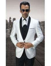 JSM-6868 Mens 1 Button White Modern Fit Black Shawl
