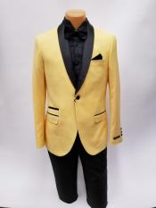 JS384 Mens One Button Shawl Lapel Yellow Prom Wedding