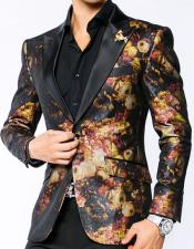 Mens Black Satin Lapel